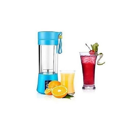 Portable Blender Juicer Cup / Electric Fruit Mixer / USB Juice Blender, Rechargeable,Blades 380mL - Blue
