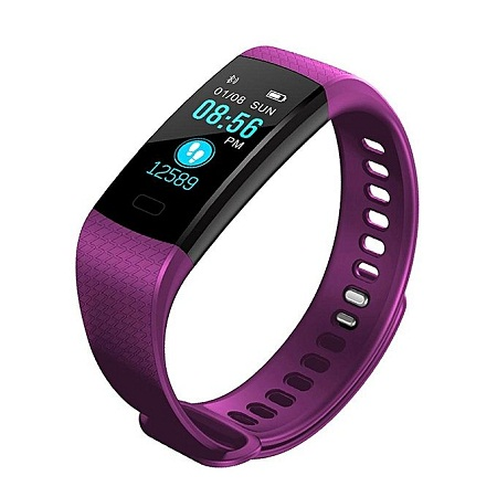 Y5 Heart Rate Water Proof Smart Bracelet Watch - Purple