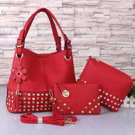 3 In 1 PU Leather Studded Handbag