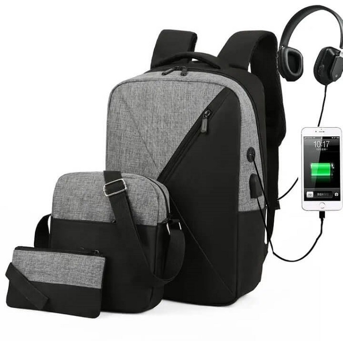 3 in1 16.5 Inch Backpacks with USB headphone port Handbags ZBP-1009