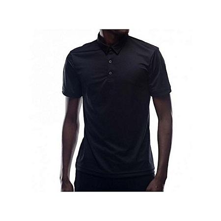 Zecchino Black Short Sleeved Mens Plain Polo T-shirts