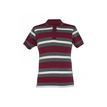 Zecchino Maroon Striped Mens Polo Shirts