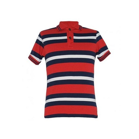 Zecchino Red Stripped Mens Polo Shirts