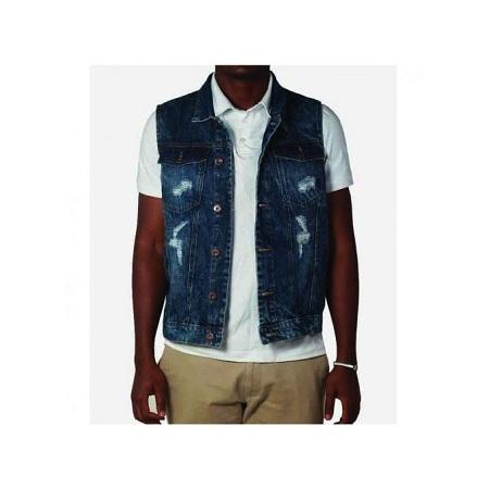 Zecchino Mid Blue Sleeveless Distressed Men's Denim Jacket