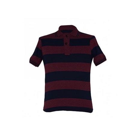 Zecchino Maroon and Navy Striped Mens Polo Shirts