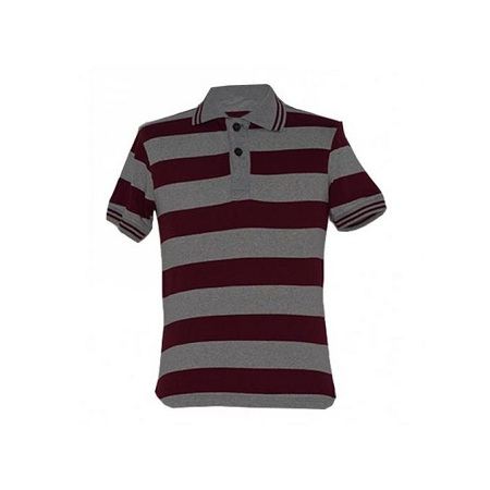 Maroon and Grey Stripped Men's Polo Shirts
