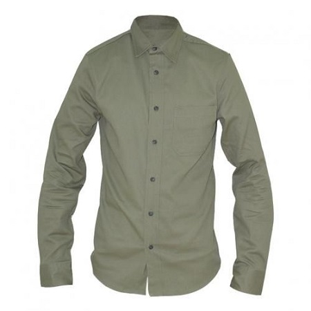 Zecchino Olive Green Long Sleeved Mens Basic Shirts