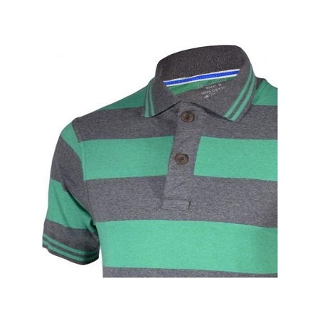 Zecchino Green and Grey Striped Mens Pure Cotton Polo T-Shirts