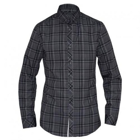 Grey Checked Mens Long Sleeved Casual Shirts