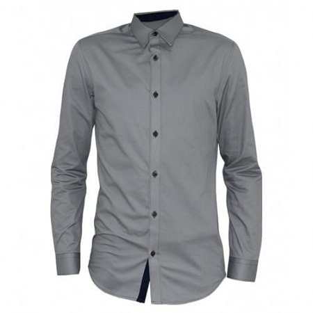 Zecchino Light Grey Long Sleeved Button-Down Men's Shirts