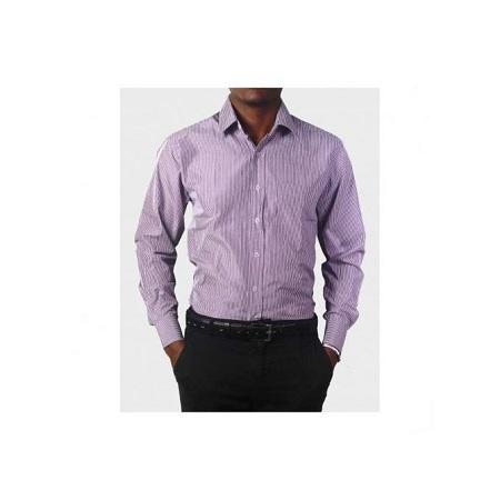 Zecchino Purple Men's Long Sleeved Stripped Shirts