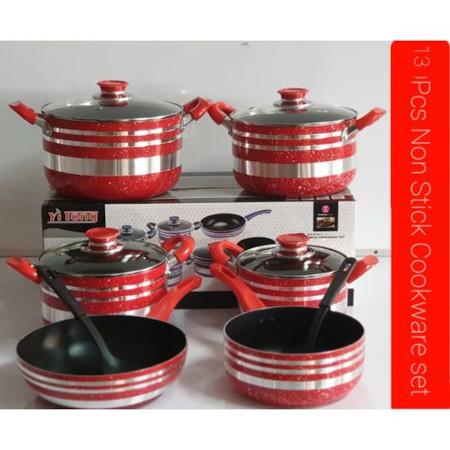 Yi Tong 13 Pcs Non Stick Cooking Sufuria Set - Red