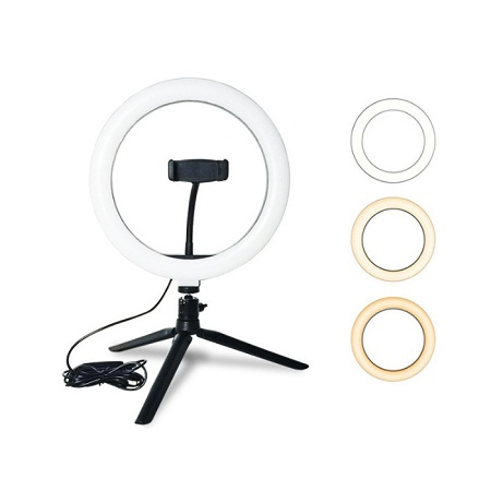 10 Ring Light LED Desktop Selfie Ring Light USB LED Desk Camera Ringlight 3 Colors Light with Tripod Stand iPhone Cell Phone Holder for Photography Makeup Live Streaming