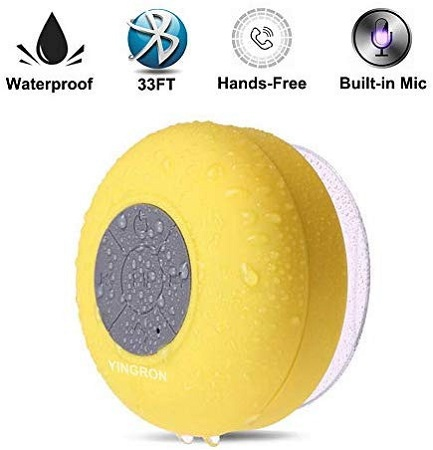 Bluetooth Shower Speakers Pool Wireless Portable Speaker with Suction Cup Handsfree, Up to 4-Hour Playtime, Built-in Microphone for Calls(Yellow)