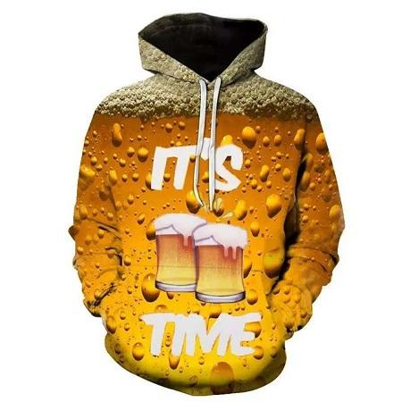 Fashion 3D printing hoodies beer