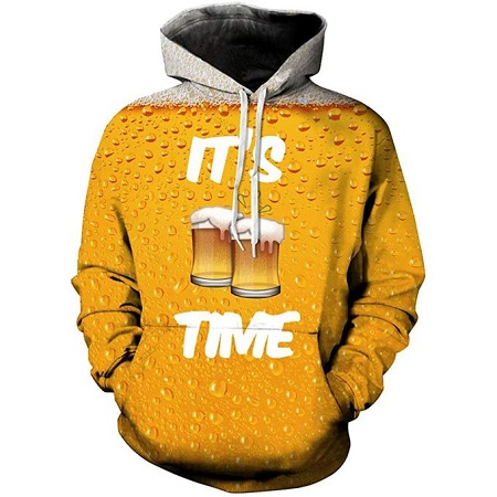 Fashion Beer time Sucor Mens Cool 3D Printed Hoodie