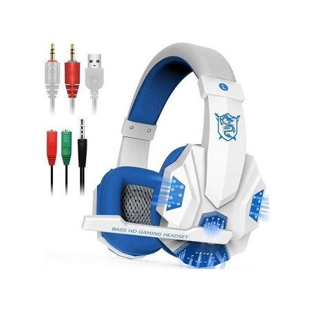 Plextone Gaming Headset with HD Mic and LED Light for PS4 X Box Laptop Computer