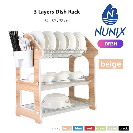 Nunix Beige 3 Layers Dish Rack