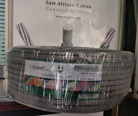 East African Cables 1.5mm Twin with Earth 90 meters- Grey