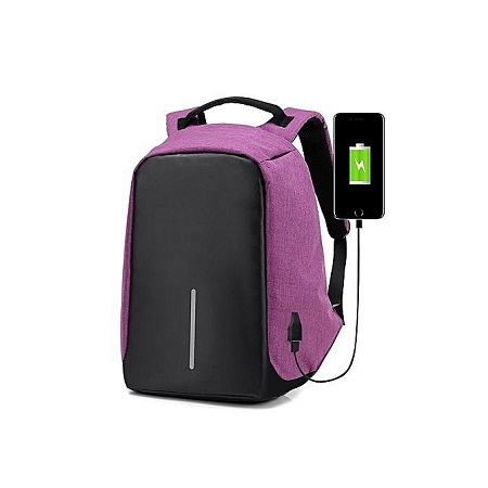 Men Anti-theft USB Charging Port Business Backpack -Purple