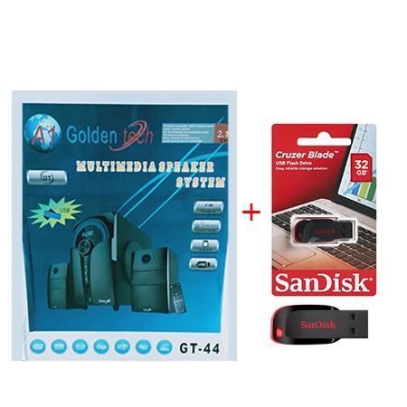 Golden Tech 2.1 Channel Multimedia Speaker System + Free Sandisk 32gb