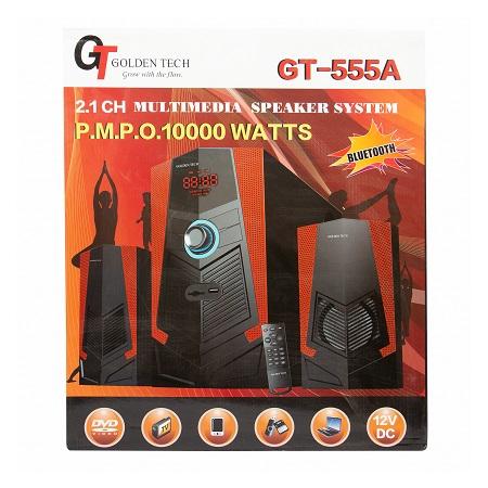 Golden Tech GT-555A, 2.1 CH/10000 WATTS/BLUETOOTH/FM RADIO/USB/SD/AC.DC