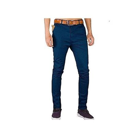 Fashion Soft Khaki Trouser Stretch Slim Fit Casual - Navy Blue