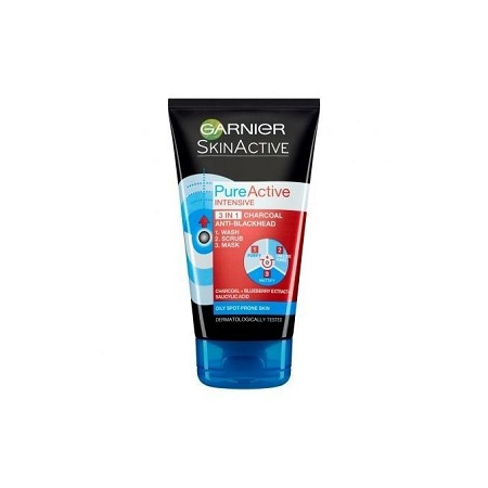 Garnier Pure Active 3 in1 Charcoal Blackhead Mask Wash Scrub 150ml.