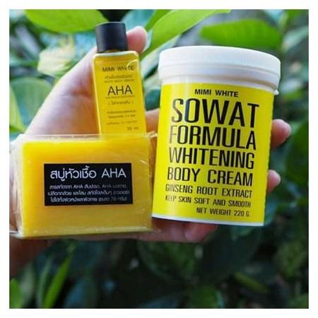 Mimi White AHA SERUM,SOWAT FORMULA CREAM & SOAP COMBO PACK