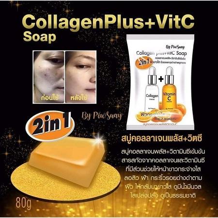 PiwSuay 2 in1 Collagen Plus + Vitamin C Soap