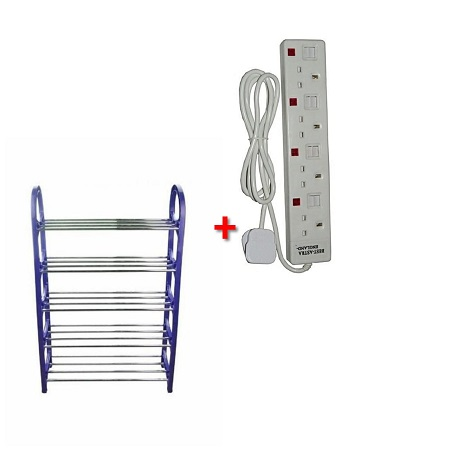 Blue Shoe Rack with Four Way Extension Cable