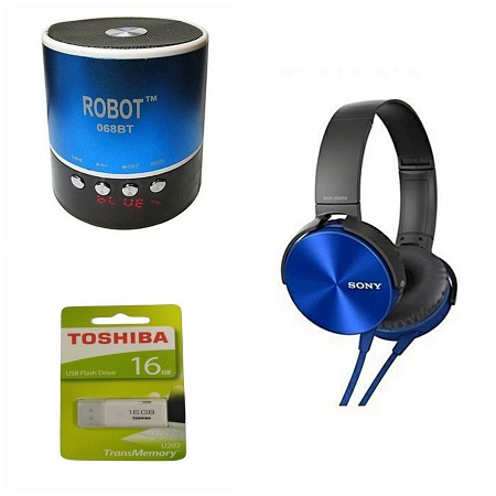Robot Mini Bluetooth Wireless Stereo Speakers FM, Memory Card, Bluetooth, USB + Toshiba 16 gb Flash Disk + Sony Headset