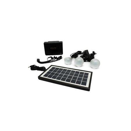 Kamisafe Solar Lighting System With 3 Smd Led Bulb Black