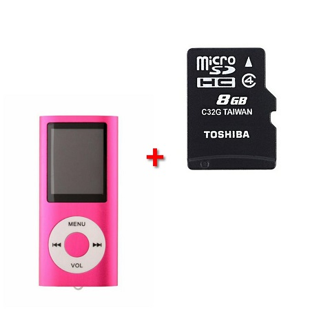 Mini Music Mp3 Player + 8GB Micro SD Memory Card Gym Workout