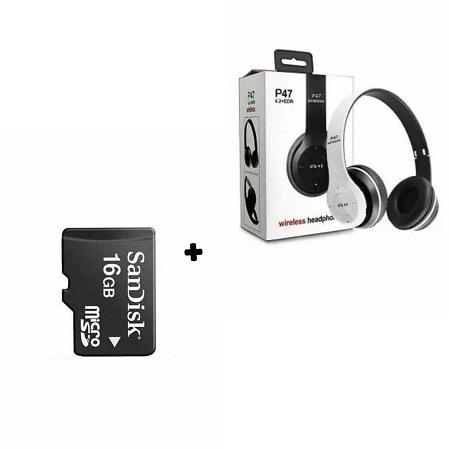 P47 Bluetooth Headphone Wireless With FM Radio & FREE 16 GB Memory Card