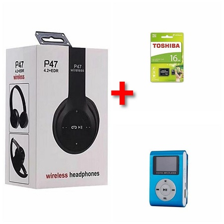 P47 Bluetooth Headphone Wireless Earphone Hands Free Music + 16 gb Toshiba Hardisk + Blue MP3 Player
