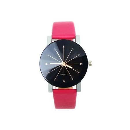 Women Quartz Dial Clock Leather Wrist Watch Round