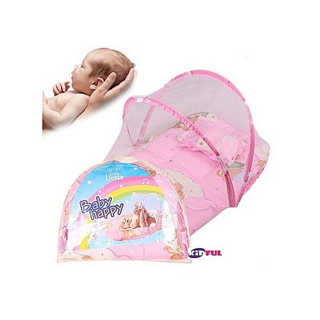 Kidful Baby Travel Bed Portable, High quality Mattress With Mosquito Net and Zipper For - Pink