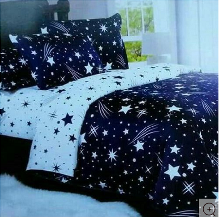 4 pcs Duvet set (1 Duvet, 2 Pillow cases, 1 Bed-sheet)- Star Print multicolor 4*6