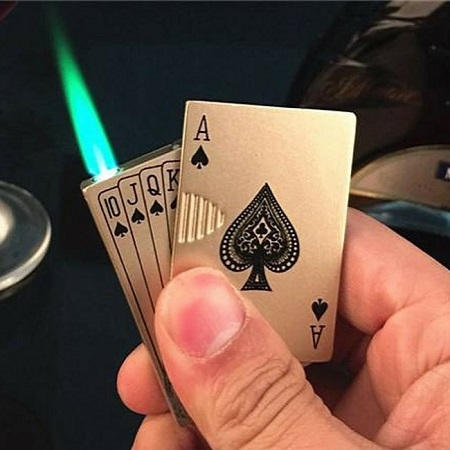 Metallic Poker Lighter- Silver