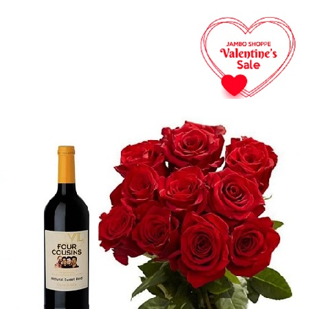Valentines Gift Hamper For Her- Fresh Red Roses Bouquet, Four Cousins 750ml