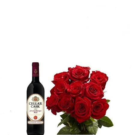 Valentines Gift Hamper For Her- Fresh Red Roses Bouquet, Cellar Cask 750ml