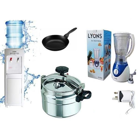 Hot and Normal Water Dispenser + 9 Litre Pressure Cooker + Non Stick Frying Pan + 2 in 1 Lyons Blender + Android Phone Charger
