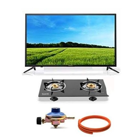 Vitron 24 Inch Digital TV + 2 Burner Gas Stove (Glass Top) + Regulator and Gas Pipe