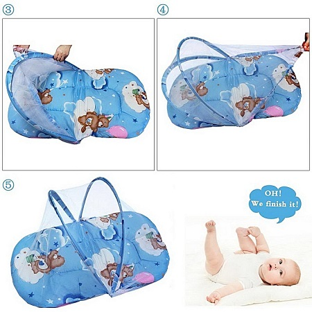 Kidful Baby Travel Bed Portable, High quality Mattress With Mosquito Net and Zipper For - Blue