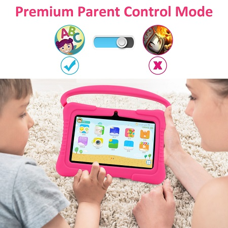 7 Inch New Kids Tablet Dual Camera with Learning Apps – Pink