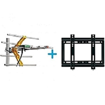 Digital TV Aerial + 10M Cable + TV Wall Mount Bracket 14 - 42inch - Black