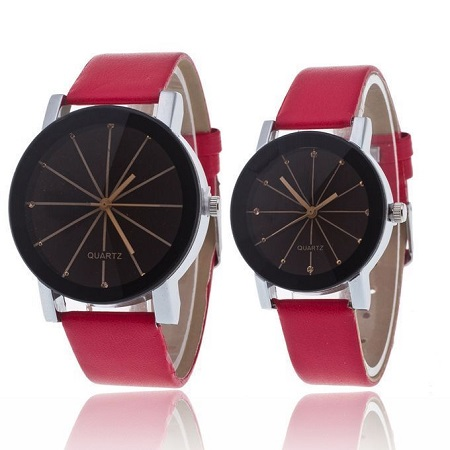 Fashion Best Couple Red Straps Quartz Wristwatch