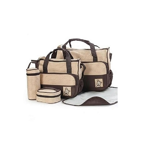 Bear Club Baby Shoulder Diaper Bag, Multi Pockets Waterproof Nappy Bag For Travel, Large Capacity and Stylish-Beige/Brown