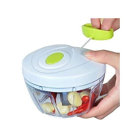 Hand Held Rope Pull Out Type Vegetable Fruit Food Chopper-White and Green